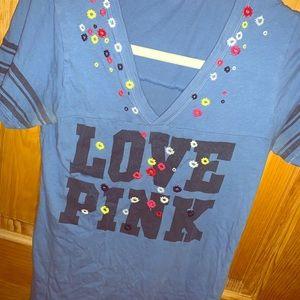 PINK Football T Shirt